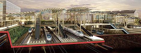 La terminal se sitúa sobre las vías de tren.