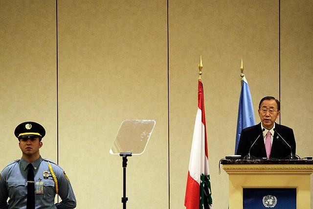 El secretario general de la ONU, Ban Ki Moon, durante su conferencia en Beirut. |