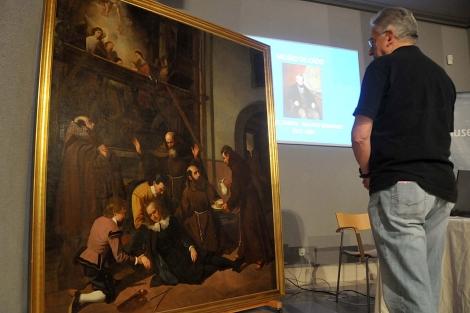 El cuadro 'La caída mortal', presentado tras su restauración. | Cata Zambrano