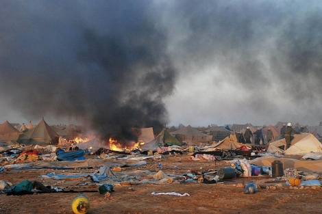 Imagen del campamento de Gdeim Izik tras el desalojo. | Afp