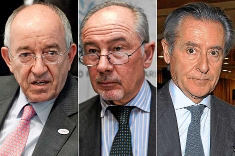 De izq. a der., Miguel Ángel Fernández Ordóñez, Rodrigo Rato y Miguel Blesa. | El Mundo