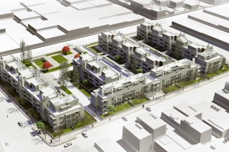 Recreación de la promoción nueva donde están ubicadas las viviendas.   EM