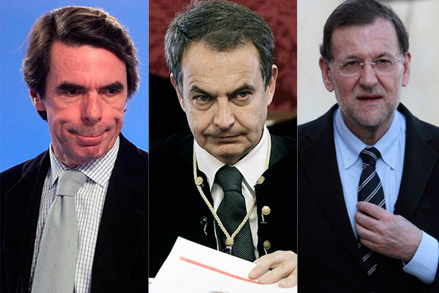 De izda. a dcha., Aznar, Zapatero y Rajoy.