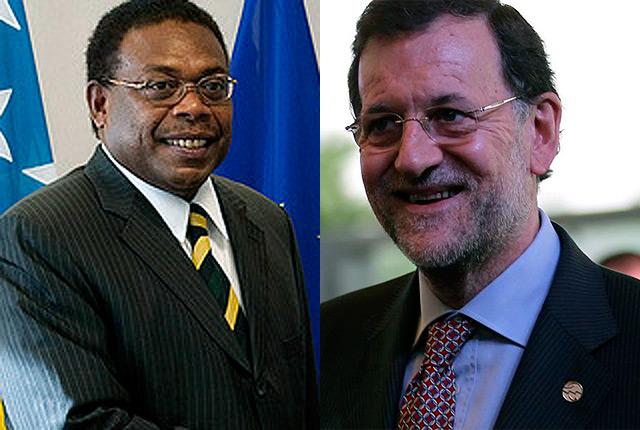 El primer ministro de las Islas Salomón, Derek Sikua y Mariano Rajoy.
