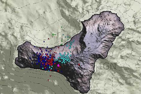 Localización de los terremotos registrados en El Hierro en los últimos tres días. | IGN