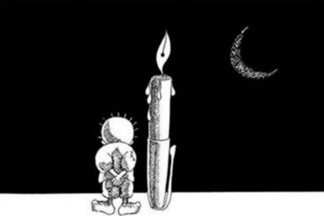 Handala da la espalda al mundo hasta su regreso a Palestina. | Naji al Ali