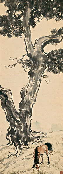 'Grazing Under the Tree' | Xu Beihong