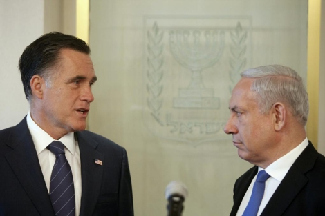 El candidato republicano de EEUU, Romney con el primer ministro israel, Netanyahu. | Reuters