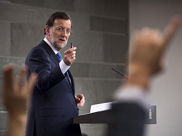 Mariano Rajoy en la rueda de prensa. | Alberto Di Lolli