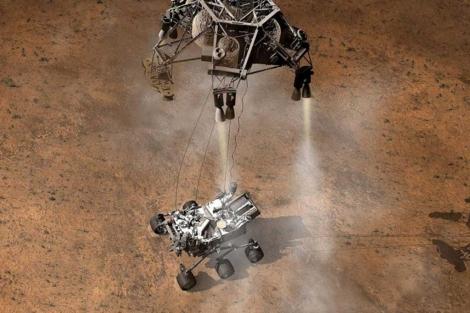 Recreación del aterrizaje de 'Curiosity' sobre Marte. | NASA