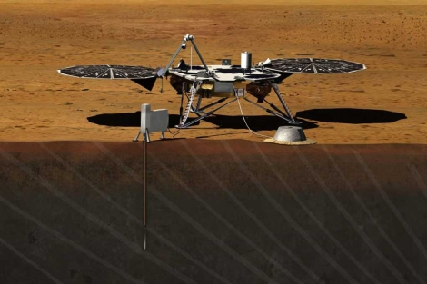 Recreación artística de la misión InSight. | NASA