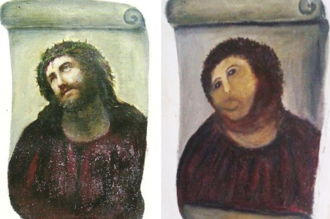 El cuadro, antes y despus del destrozo.