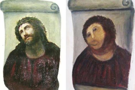 El cuadro, antes y después del destrozo.