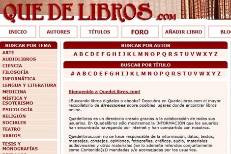 Quedelibros.com, una de las páginas que han recibido en agosto la propuesta de resolución.