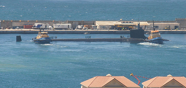 El submarino de EEUU, en Gibraltar. | Alberto Espinosa