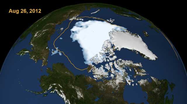 La zona blanca marca la extensión del hielo el 26 de agosto. La línea delimita la extensión de la capa de hielo media entre 1979-2010. | NASA
