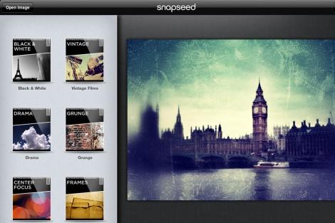 Una pantalla de Snapseed para iPad.