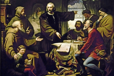 'Coln muestra sus teoras a Fray Prez', obra de Eduardo Cano de la Pea.