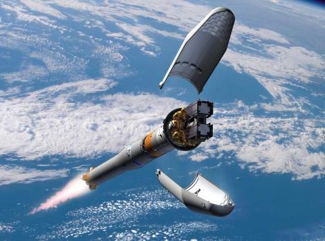 Recreación de los satélites en el momento en que se separan de la Soyuz. | ESA