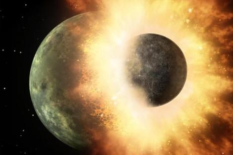 Recreación del impacto que formó la Luna. | Nature
