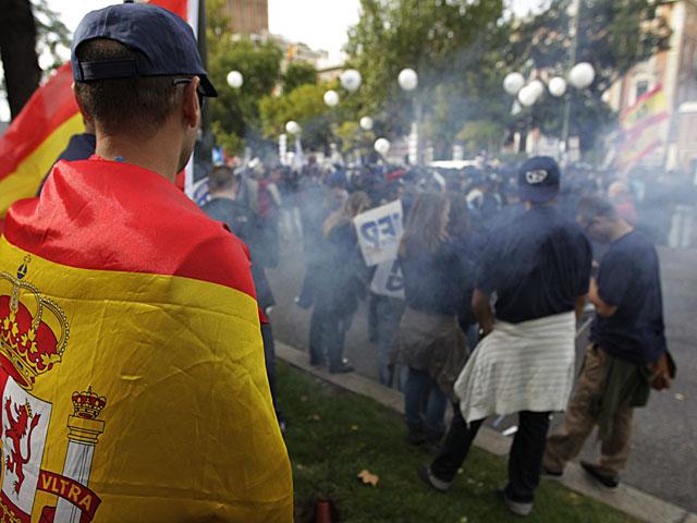 Agentes protestan ante el Ministerio del Interior. | Sergio Barrenechea / Efe