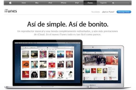 Imagen de la página web del nuevo iTunes.