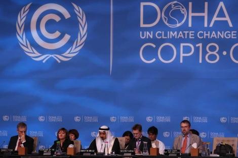 Sesión de negociaciones en la última jornada de la Cumbre de Doha. | AFP
