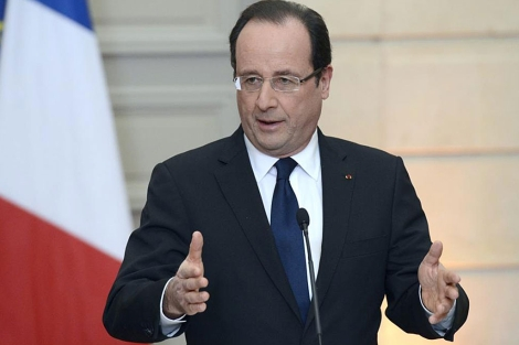 Hollande, durante su comparecencia.| Afp