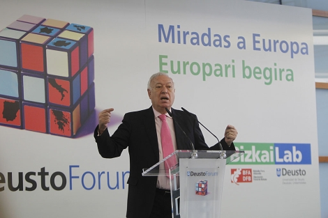 El ministro Margallo durante su intervencin en Bilbao.| Iaki Andrs