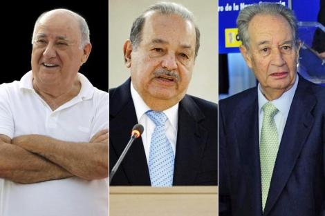 Amancio Ortega, Carlos Slim y Villar Mir. | ELMUNDO.es