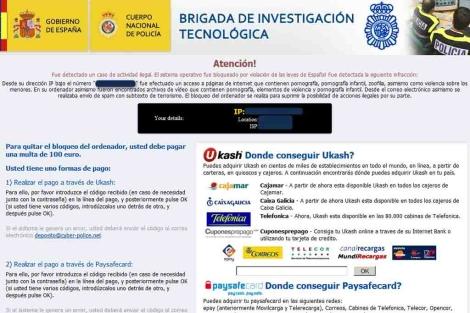 Simulación de un mensaje de la Policía enviado por la red para estafar a internautas.