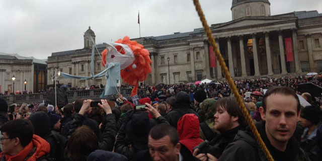 Un títere gigante de la ex 'premier' británica ha presidido la masiva protesta. | C. F.