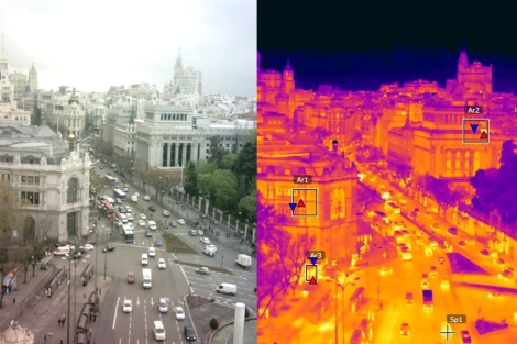 Radiografía térmica de la calle Alcalá de Madrid desde Cibeles. | E. M.
