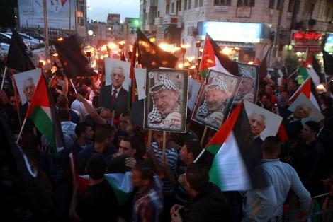 Manifestación conmemorativa del aniversario en Ramala. | Afp
