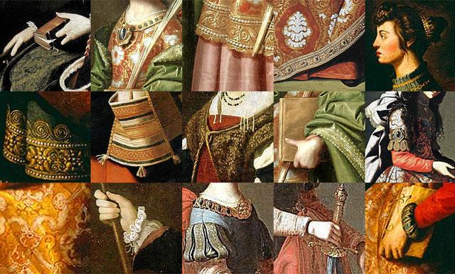 Detalles de algunos de los lienzos de la exposición 'Santas de Zurbarán'.