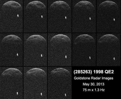 Imágenes de radar del asteroide. El punto blanco es el satélite.| NASA/JPL-Caltech/GSSR