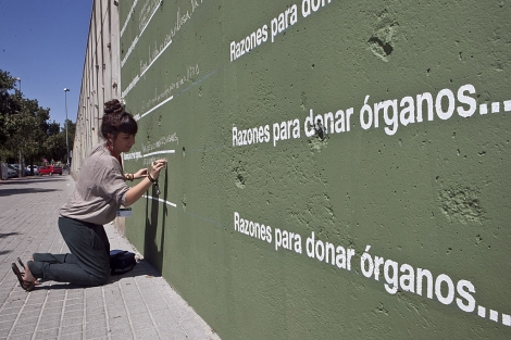 Muro de sugerencias en la campaña por la donación de órganos. | M. Cubero