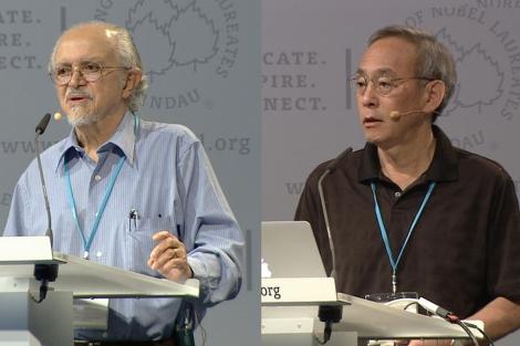 Steven Chu (derecha) y Mario Molina (izquierda) en la reunión de premios Nobel en Lindau. | SINC