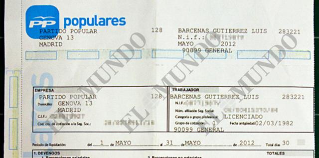 Reproducción de la nómina devengada por Bárcenas en mayo de 2012 en el PP. [PINCHE AQUÍ PARA VER EL DOCUMENTO ÍNTEGRO ]