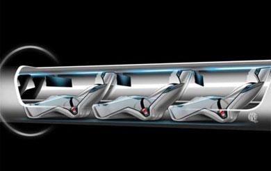 Recreación de la cápsula para pasajeros de Hyperloop. | Elon Musk