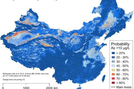 Mapa de los niveles de concentración de arsénico en China. | USC