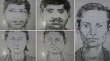 Imagen de los cinco sospechosos facilitada por la Policía de Bombay. | Afp