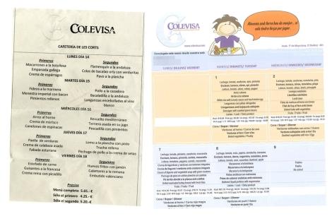 Los menús de las Cortes y de un colegio de Valencia.