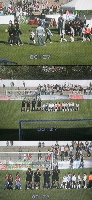 Mundialito de benjamines: el himno nacional sólo fue escuchado por el Valencia C.F. y no por el F.C. Barcelona, que salió al campo cuando dejó de sonar