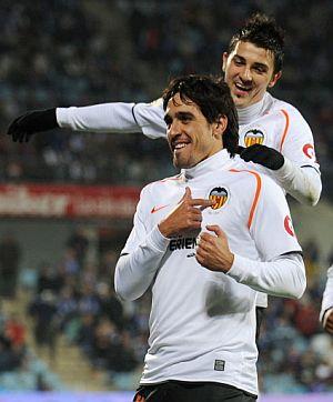 Vicente, tras marcar el 0-3 en Getafe. (Foto: AFP)