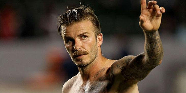 Beckham saluda tras un partido con los Galaxy. | Afp
