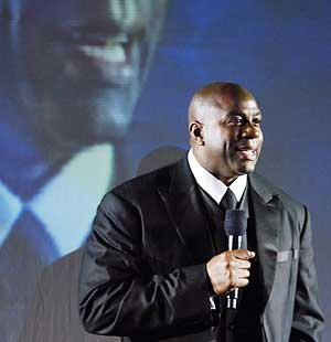 Magic Johnson durante una reciente gala contra el sida. (Foto: AP)