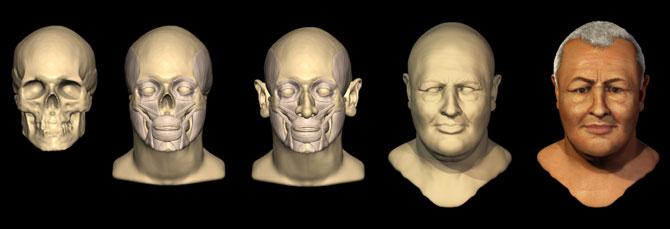 Serie de la reconstrucción del rostro de Bach. (Foto: Casa-Museo de Bach | AFP)