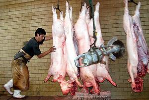 Un empleado en una compañía procesadora de carne de cerdo en México. | Efe