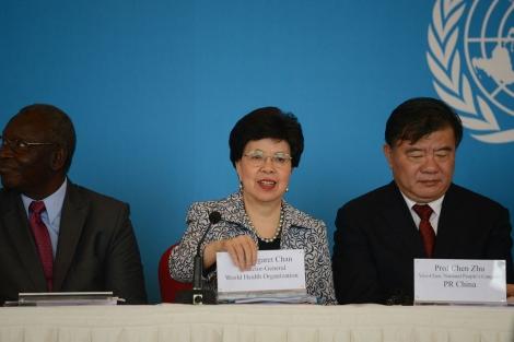 Margaret Chan durante la presentación del informe en Pekín.